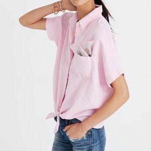 Madewell Tie Front Top Paris Pink XXS